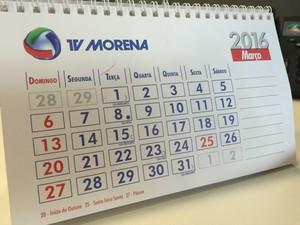 Calendário de março 2016 (Foto: Gabriela Pavão/ G1 MS)