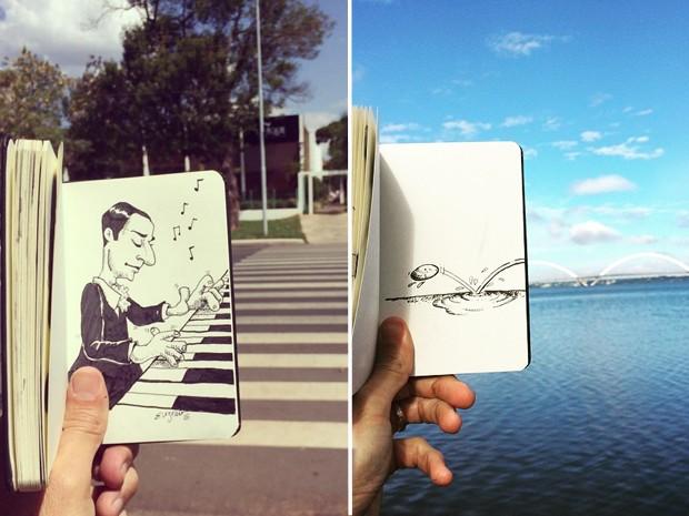 Faixa de pedestre e Ponte JK, em Brasília, são inspiração para artista do DF (Foto: Antônio Pereira/Reprodução)