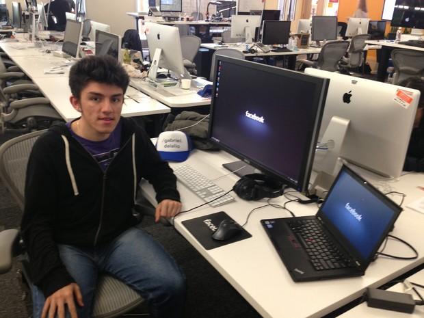 Gabriel Dalalio faz estágio na sede do Facebook, nos EUA, desde fevereiro. (Foto: Arquivo pessoal/Gabriel Dalalio)