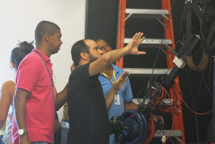 Pedro Santana, Romilson Santos, supervisor técnico, e Roberto Carlos, cinegrafista (Foto: TV Bahia)