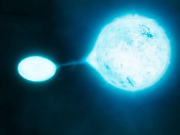 Impressão artística divulgada pelo ESO de uma estrela vampira e da sua vítima (Foto: Divulgação/ESO)