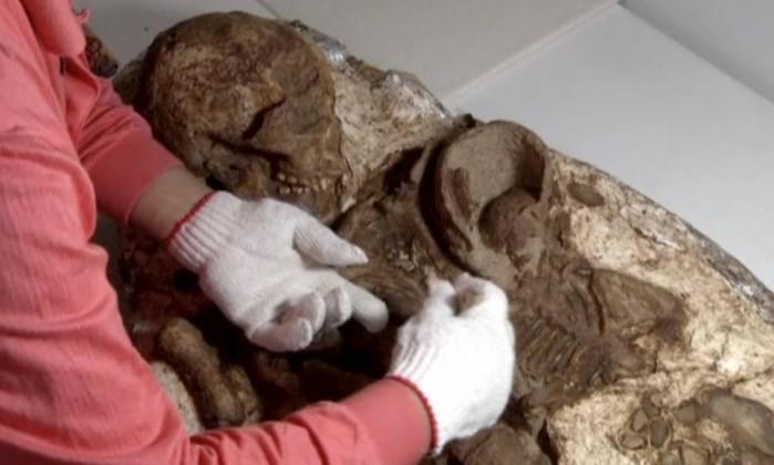 Descoberta do fóssil sensibilizou os arqueólogos (Foto: Divulgação)