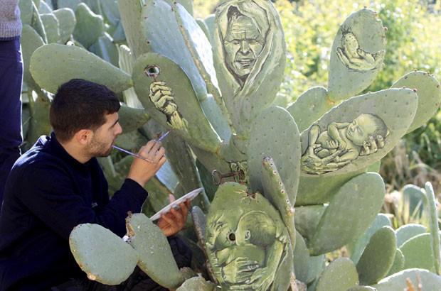 Ahmad Yasin criou desenhos incríveis em folhas de cactos no jardim de sua casa (Foto: Abed Omar Qusini/Reuters)