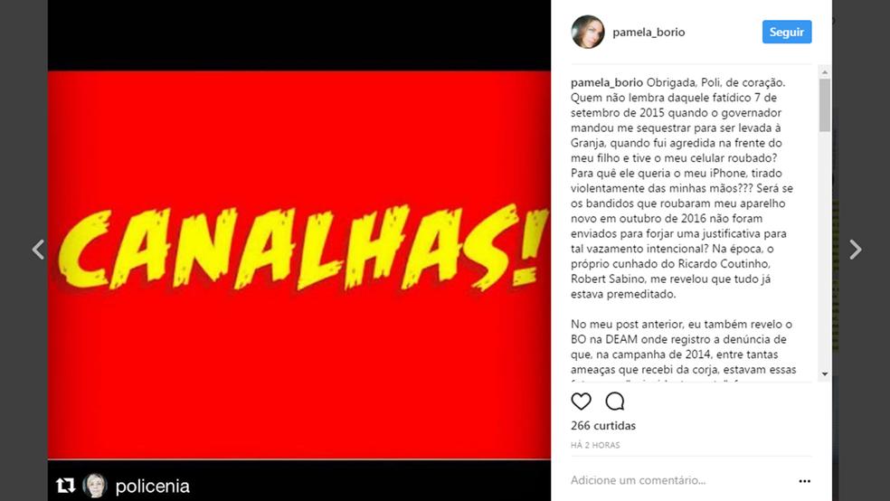 Pâmela Bório atribui vazamento de fotos íntimas ao governador Ricardo Coutinho (Foto: Reprodução/Instagram/Pâmela Bório)
