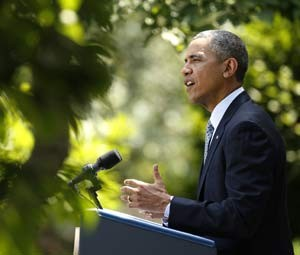 Obama fala nesta segunda (30) sobre legislação de imigração no jardim da Casa Branca (Foto: REUTERS/Kevin Lamarque)