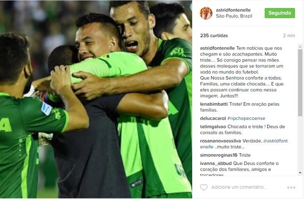 Astrid Fontenelle lamenta tragédia da Chapecoense (Foto: Reprodução/Instagram)