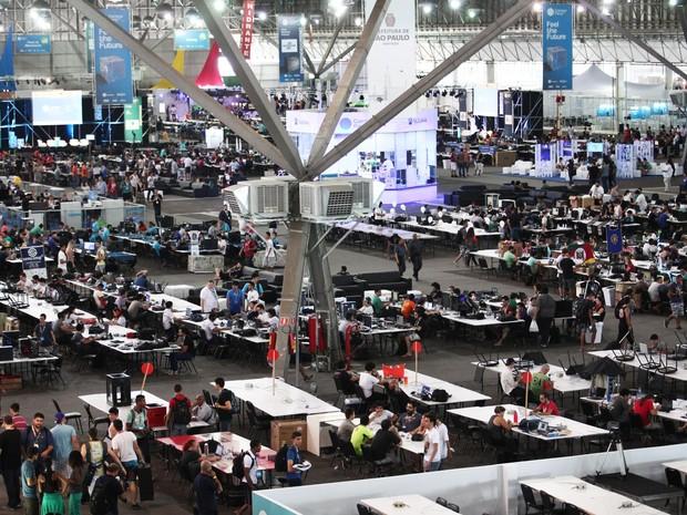 Interior do Pavilhão de Exposições Anhembi, em São Paulo (SP), onde acontece Campus Party 2016 entre terça-feira (26) e vai até domingo (31) (Foto: Fabio Tito/G1)