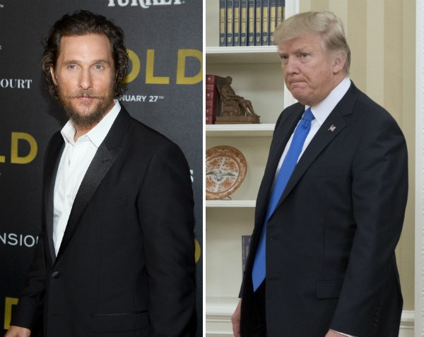 O ator Matthew McConaughey e o presidente dos Estados Unidos, Donald Trump (Foto: Getty Images)