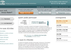 Site do Sisutec, que seleciona alunos para cursos técnicos em todo o Brasil (Foto: Reprodução/MEC)