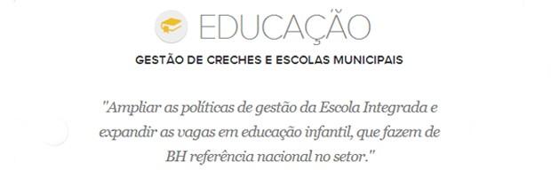 Meta de educação do prefeito de Belo Horizonte, Marcio Lacerda (Foto: Arte/G1)