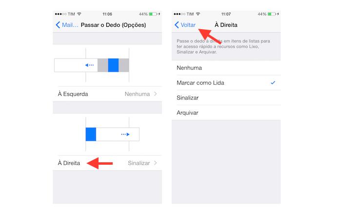 Acessando as opções de comando de deslize de dedos à direita no Mail do iOS  (Foto: Reprodução/Marvin Costa)