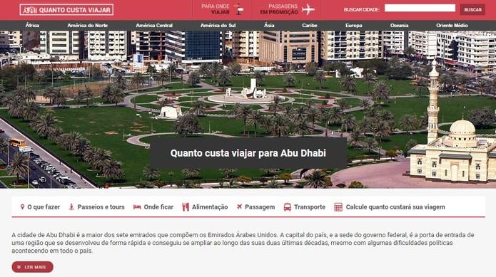 Página mostra perfil do lugar e informações sobre valores (Foto: Reprodução/Daniela Ferrari)
