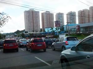 Trânsito no local está lento (Foto: Daniel Cardozo/Arquivo pessoal)