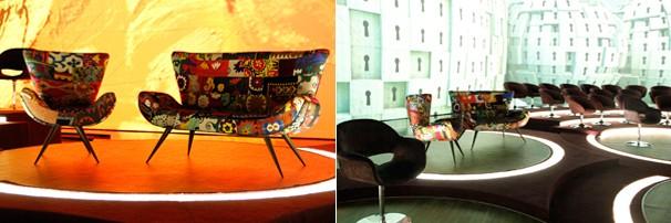 A poltrona e o sofá que Fátima Bernardes receberá seus convidados e as possíveis projeções do fundo do cenário (Foto: Nathalia Fernandes/TV Globo)