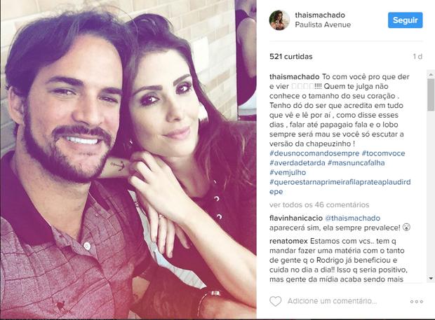 Thaís Machado defende Rodrigo Carvalho (Foto: Reprodução/Instagram)
