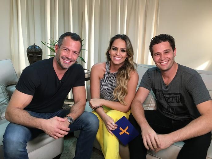 Pedro Leonardo e Aline Lima entrevistam o ator Malvino salvador, em Jaguariúna (SP) (Foto: reprodução EPTV)