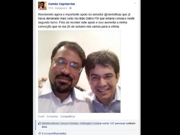 Candidato pelo PSB comemorou ter recebido apoio do senador (Foto: Reprodução/Facebook)