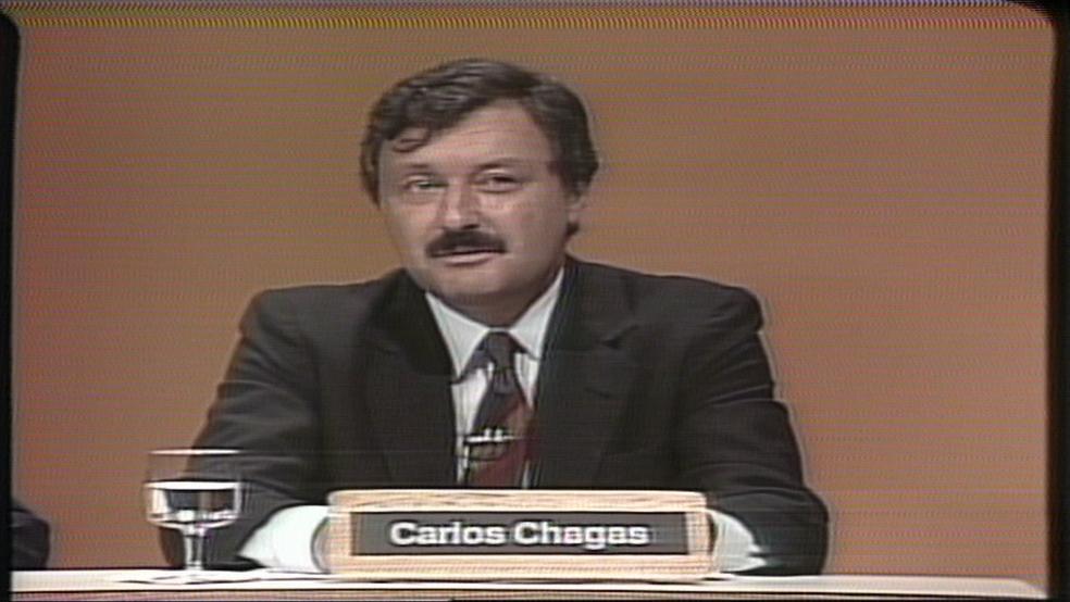 O jornalista Carlos Chagas, em aparição na televisão (Foto: TV Globo/Reprodução)