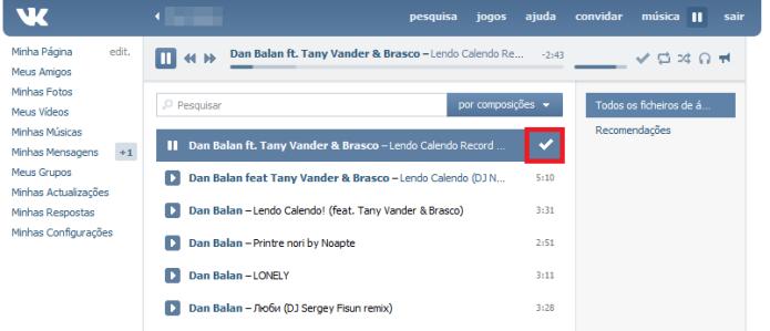 Música de outro usuário do VK adicionada na sua playlist (Foto: Reprodução/Lívia Dâmaso)