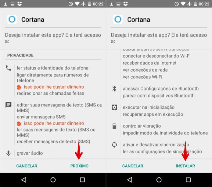 Instalando o aplicativo da Cortana (Foto: Reprodução/Helito Bijora)