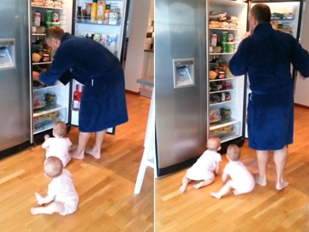 Gravação mostra pai afastando bebês da geladeira várias vezes (Foto: Reprodução/YouTube/Urban Davidsson)