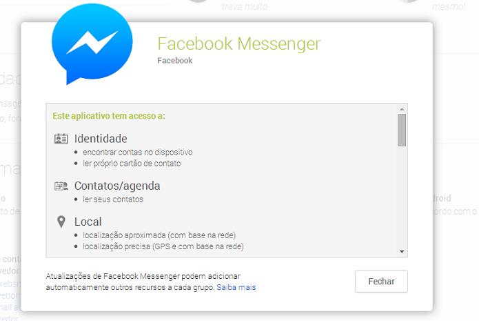 Facebook Messenger exige muitas autorizações (Foto: Reprodução/Google Play)