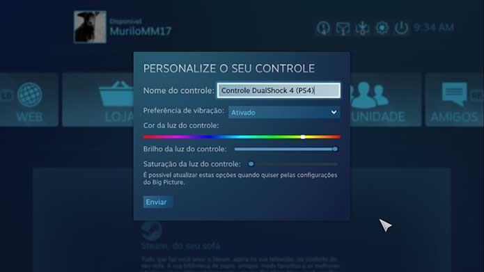 Configure o controle do PS4 ao Steam (Foto: Reprodução/Murilo Molina)