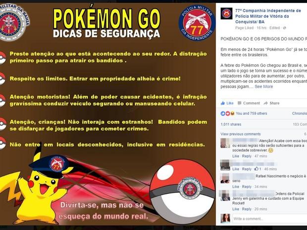 Postagem faz alerta para usuários de aplicativo que caça monstrinhos nas ruas (Foto: Reprodução/ Facebook)