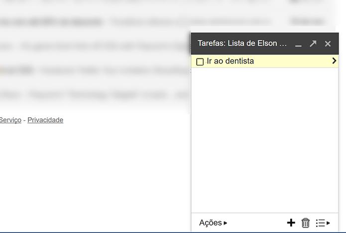Digite nome de tarefa e dê enter para criar nova entrada na lista do Gmail (Foto: Reprodução/Elson de Souza)