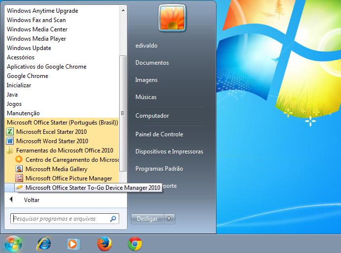 Acessando o recurso Microsoft Office Starter Portátil pelo menu Iniciar (Foto: Reprodução/Edivaldo Brito)