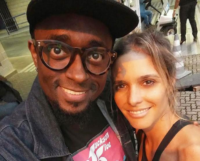 Régis Paulino com Fernanda Lima no Projac (Foto: arquivo pessoal/ divulgação)