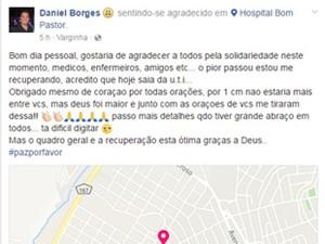 Empresário que foi baleado em tentativa de assalto posta mensagem em hospital em Varginha (Foto: Reprodução/ EPTV)