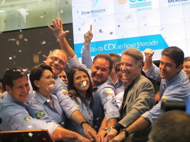 Eike Batista em cerimônia de entrada da CCX no Novo Mercado Bovespa (Foto: Fabíola Glenia/G1)