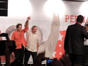 Dilma e Lula em encontro do PT Pernambuco, no Recife (Foto: Vitor Tavares / G1)