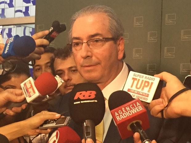 O deputado Eduardo Cunha (PMDB-RJ) durante entrevista na Câmara (Foto: Nathalia Passarinho / G1)