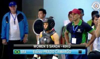 Edineia Camargo luta no mundial de wushu na Indonésia (Foto: Reprodução/Worldwushu.tv)