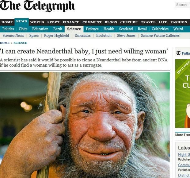 Cientista afirma que pode criar bebê de homem-de-neandertal (Foto: Reprodução/The Telegraph)