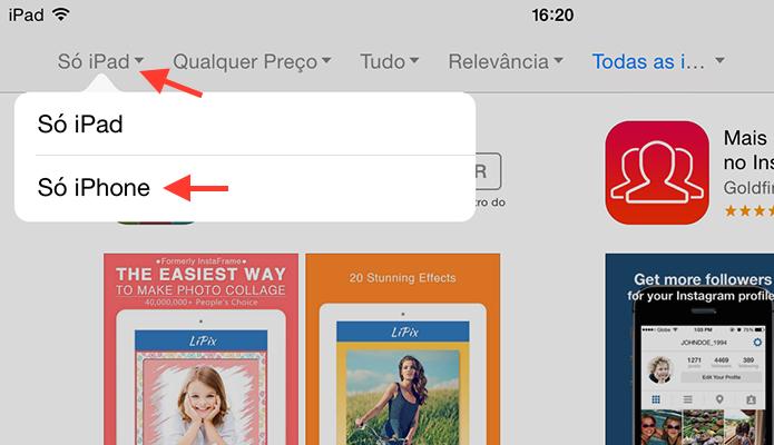 Filtrando a busca da App Store para mostrar apenas aplicativos para iPhone (Foto: Reprodução/Marvin Costa)