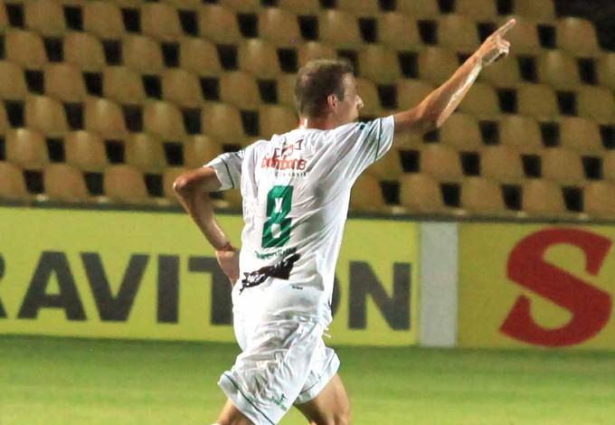 Uillian Corrêa - do Sampaio - comemora gol contra Icasa (Foto: De Jesus/O Estado)