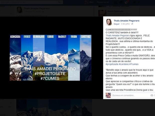 Mãe da Thaís publicou a notícia da sétima montanha nas redes sociais  (Foto: Reprodução/Facebook/ Thaís Amadei Pegoraro)