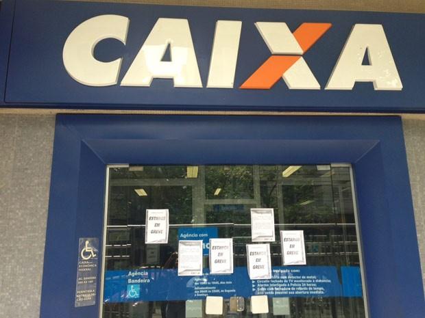 A CEF da Praça da Bandeira é um dos bancos em greve no Rio (Foto: Janaína Carvalho/ G1)
