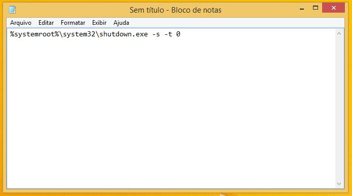 Criando arquivo com comando para desligar o PC (Foto: Reprodução/Helito Bijora)