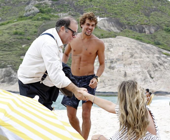 Christiane Alves também grava cenas de Lígia ao lado de Otávio Müller e Felipe Roque (Foto: Ellen Soares/ Gshow)
