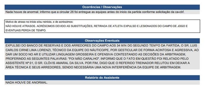 Súmula CBF expulsão Lisca (Foto: Reprodução)