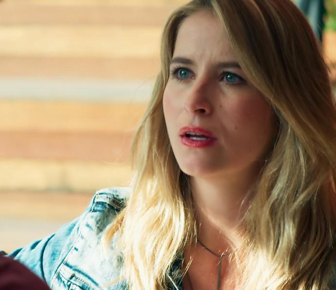 Olha a cara da Bárbara ao saber que Gabriel quer ficar com a Joana!  (Foto: TV Globo)