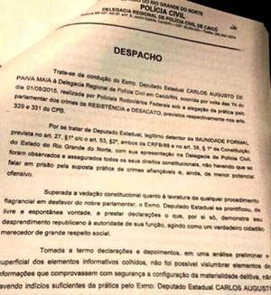 Despacho do delegado Helder Carvalhal será encaminhado para o MPF, PRF, PF e Assembleia Legislativa (Foto: Divulgação/Polícia Civil)