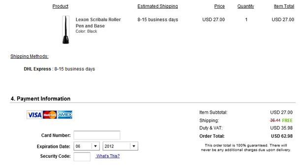 Site da Barney´s cobra US$ 35,98 em impostos antecipados por caneta no valor de US$ 27 para o Brasil (Foto: Reprodução)