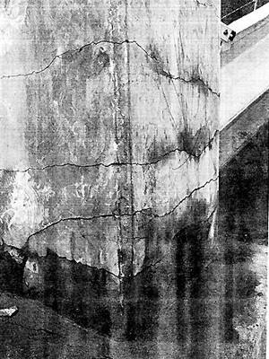 Rachaduras no pilar 49 da ciclovia Tim maia, em foto feita por peritos do Ministério Público Estadual  (Foto: Reprodução)