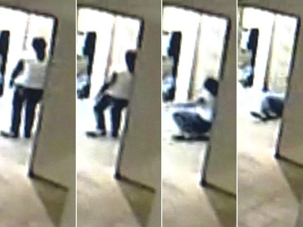 Vídeo flagra desmaio de frentista durante assalto a posto de Goiânia (Foto: Reprodução GloboNews)
