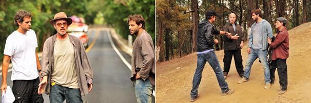 O diretor Leonardo Nogueira dirige cenas com o ator Henri Castelli (Foto: João Miguel JR./Rede Globo)